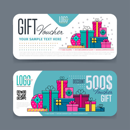 Gift voucher template. Back and front side of the coupon. Vector illustration. Vettoriali