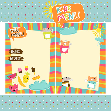 Kids menu vector template Illustration