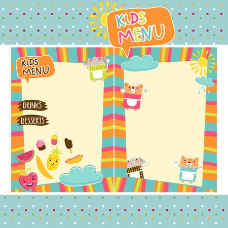 Kids menu vector template Vettoriali