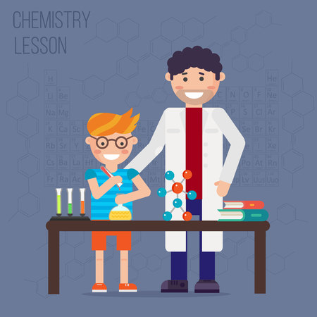 experimenting: Chemistry laboratory, chemistry equipment. Experimenting chemistry science in the laboratory. Children are studying and working in chemistry lab. Scientific experiments, tests, study, kids. Vector.