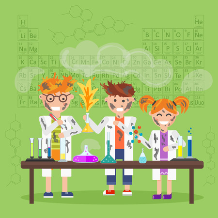 chemistry lab: Chemistry laboratory, chemistry equipment. Experimenting chemistry science in the laboratory. Children are studying and working in chemistry lab. Scientific experiments, tests, study, kids. Vector.