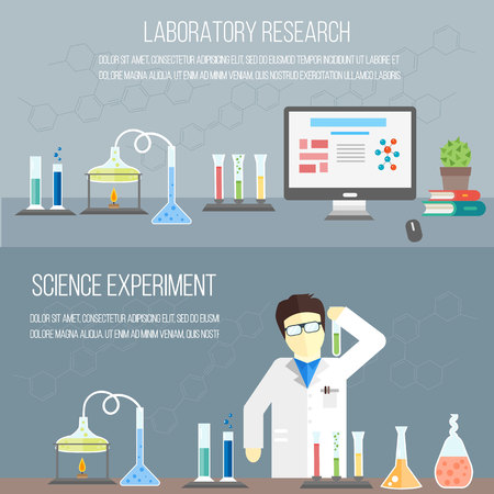 experimenting: Chemistry laboratory, chemistry equipment. Experimenting chemistry science in the laboratory.  Scientific experiments, tests, study. Vector banners. Illustration