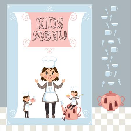 cute cartoon kids frame: Kids menu vector template, cartoon design with funny characters. Illustration