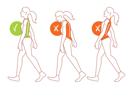 Correct spine posture. Position of body when walking.