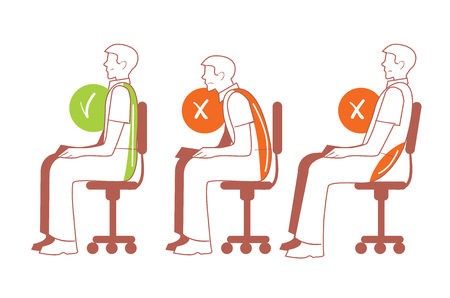 buena postura: Posiciones sentadas. posición sentada correcta y el mal, el dolor de espalda, ilustración vectorial Vectores