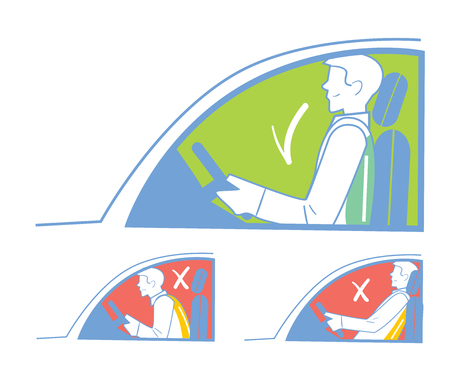 Correct and incorrect position when riding in the car, back pain.