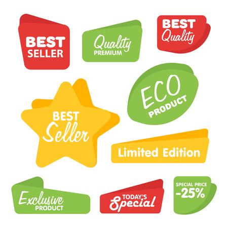 Big Set of Vector Label, autocollant, Tag. Collection Colorful Résumé Étiquette et autocollant. Blank Label de style moderne. Meilleur vendeur, produit écologique, de qualité et d'autres icônes.