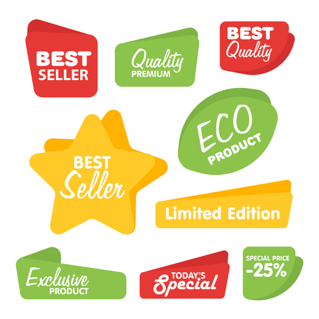 prices: Big Set of Vector Label, Sticker, Tags. Collection Colorful Abstract Label and Sticker. Blank Label of Modern Style. Best seller, eco product, quality and other icon.