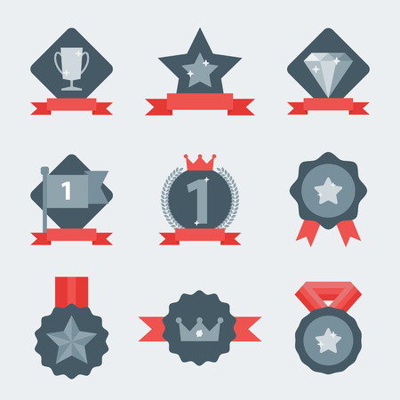 awards: Medal and winner icon set. Blank Label of Flat Style. First place, flag, star. Illustration