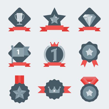 reconocimientos: Medalla y conjunto ganador icono. Etiqueta en blanco de la plana del estilo. En primer lugar, bandera, estrella. Vectores