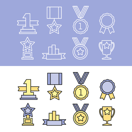 blank label: Medal and winner icon set. Blank Label of Flat Style.