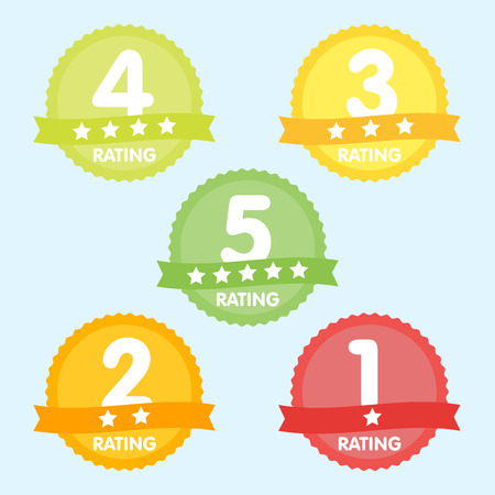 five star: Rating label with five different label with star and place icon.