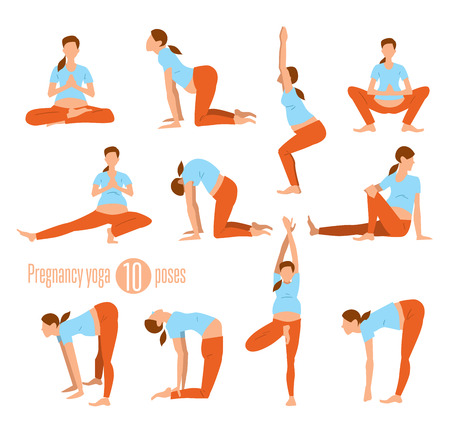 Pregnancy yoga. Yoga for pregnant women. Doing Stretches and Light Weight Aerobics. Yoga Excersises. Vector illustration.