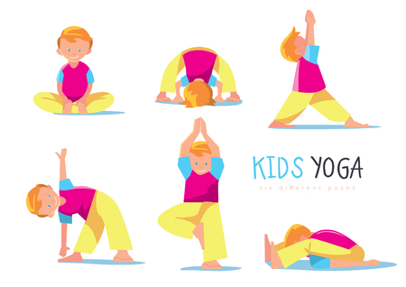 strong boy: Yoga kids set. Boy makes yoga exercises. Vector illustration.
