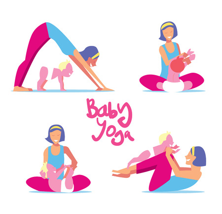 Baby yoga set. Mom with a child engaged in exercises of yoga for the baby health. Vector illustration.