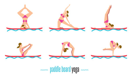 Paddle board yoga set, sup yoga. Six different poses on the paddle board.