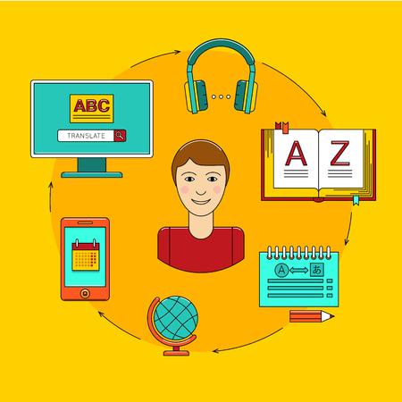 language: Language learning. Foreign language education online. Interactive software to language learning. Online Learning, Distance Education, Online Training Illustration