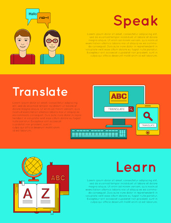 foreign language: Language learning. Foreign language education online. Interactive software to language learning. Online Learning, Distance Education, Online Training Illustration