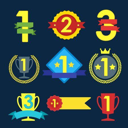 primer lugar: Medalla y conjunto ganador icono, la etiqueta en blanco del primer lugar, bandera, estrella del estilo de diseño plano, ilustración vectorial.