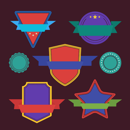 Vector badges flat vintage style. Big Set of Vector Label, Vector Sticker, Vector Tags. Collection of Colorful Abstract Badges and Sticker.