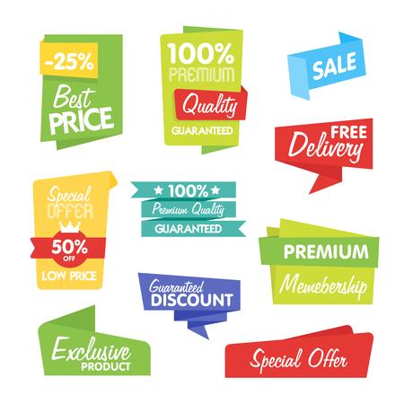 Verkoop en korting vector sticker. Geïsoleerd sticker op een witte achtergrond. Verkoop sticker, exclusief product, speciale aanbiedingen en andere sticker in origami-stijl. Stock Illustratie