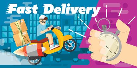 Fast delivery design, vector banner. Cute illustration