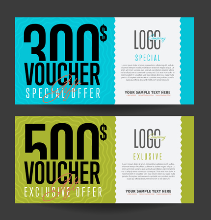 discount card: Gift voucher template. Back and front side of the coupon.