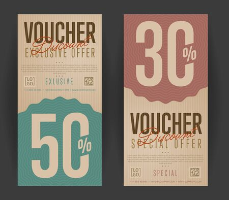 scroll border: Gift voucher for discount template. Back and front side of the coupon. Vector illustration.
