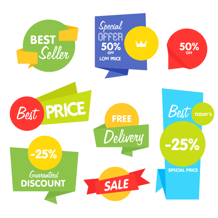 Isolated sale sticker vector collection on white background