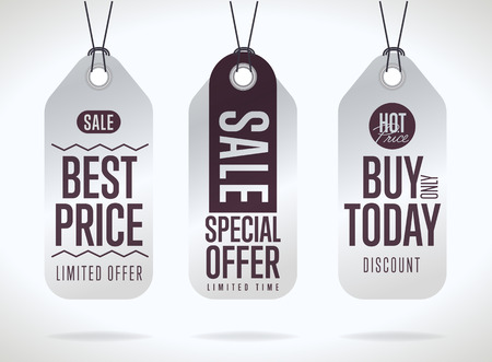 sale tags: Sale tag vector isolated. Sale sticker with special advertisement offer. Best price tag. Buy today tag. Special offer tag.