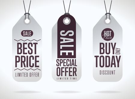Verkoop tag vector geïsoleerd. Verkoop sticker met speciale reclame aanbieding. Beste prijskaartje. Koop vandaag tag. Speciale aanbieding tag.