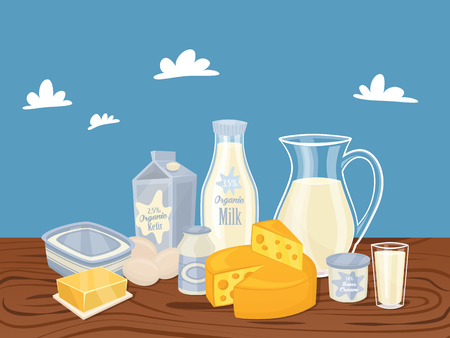 dairy cows: Dairy products isolated, vector illustration. Milk product on wooden table. Healthy food. Organic food. Farmers product.