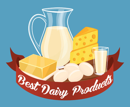 milk products: Dairy products isolated set, vector illustration. Milk products composition. Illustration