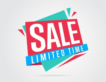 Sale banner vector geïsoleerd. Markering van de verkoop. Speciale aanbieding. Limited Tima sticker. Kleurrijke illustratie. Vector banner. Stock Illustratie