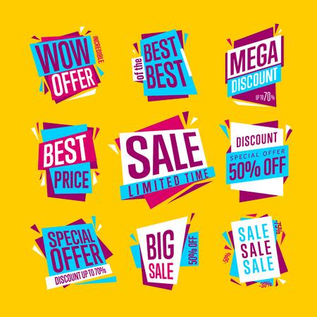 販売バナー。孤立したバナーを設定します。最高の価格のバナーです。大きなセールのバナーです。販売のバナー広告のコレクションです。ベクト