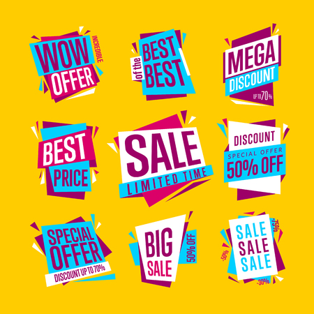 collections: Sale banners. Isolated banners set. Best price banner. Big sale banner. Collection of sale banners. Vector illustration.