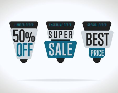 sale tags: Sale tag vector isolated. Sale sticker with special advertisement offer. Best price tag. Half price tag. Illustration