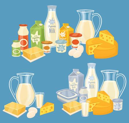 Prodotti lattiero-caseari isolato, illustrazione vettoriale.