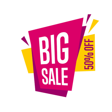 sale sticker: Big sale tag vector isolated.