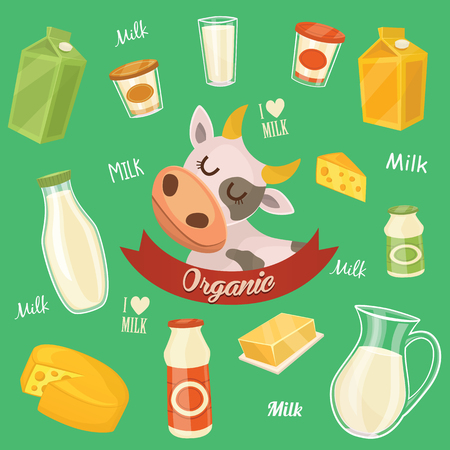dairy cow: Dairy products isolated, vector illustration. Milk product icons collection. Healthy food. Organic food. Farmers product.