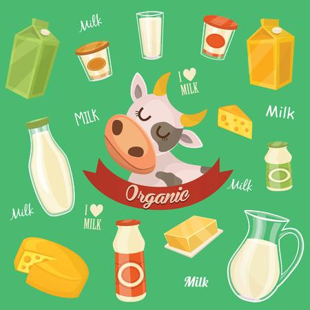 lacteos: Los productos l�cteos aislados, ilustraci�n vectorial. producto l�cteo Iconos de la colecci�n. Comida sana. Alimentos org�nicos. producto de los agricultores. Vectores