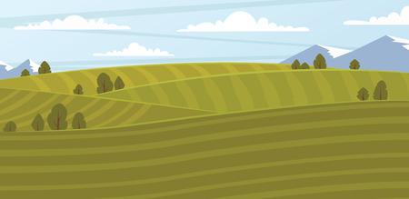 absract: Absract farm field, green landscape vector illustration.