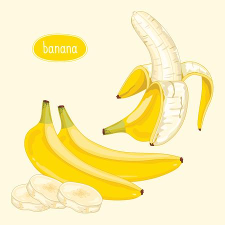 banana skin: Peeled banana on light background. Raster illustration.