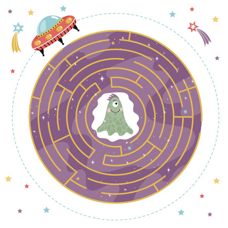 rout: Cartoon Maze for Kids. Stock Photo