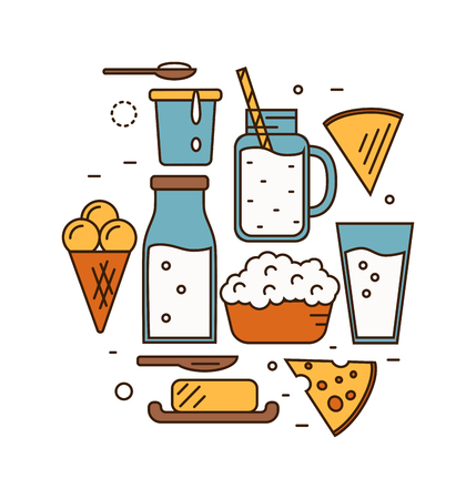 product icon: Dairy Product Icon Set.
