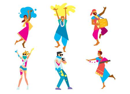 празднование: Холи фестиваль, растровые иллюстрации. Традиционный индийский праздник. Бенгальский Новый год. Праздник весны и природы.