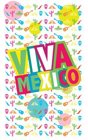latinoamerica: Viva Mexico, raster illustration, colorful raster poster