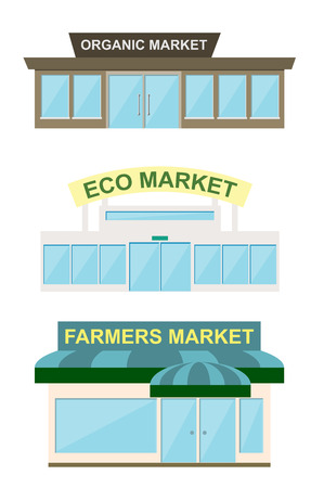 storefront: Storefront icon set, raster illustration. Organic market, eco market and farmes market storefront. Stock Photo