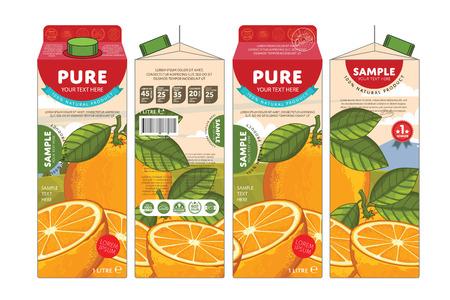 Orange Juice Karton Karton Opakowanie Projekt