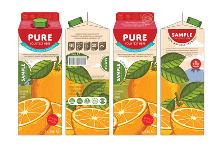 Oranje Juice Karton Kartonnen Doos Pack Design
